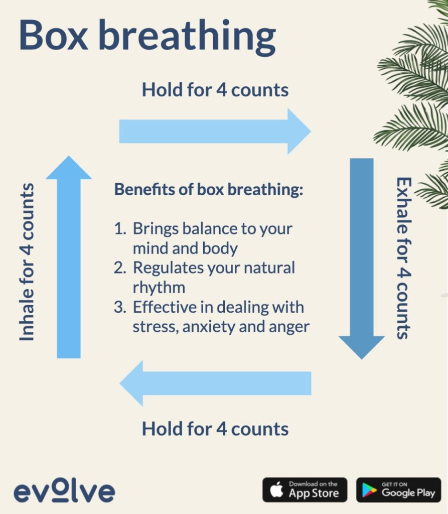 The box breathing exercise is a great way to reduce stress and normalise your breathing